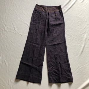 Anthropologie burgundy linen pants gypsy wide leg